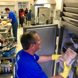 Day of caring, working in the kitchen