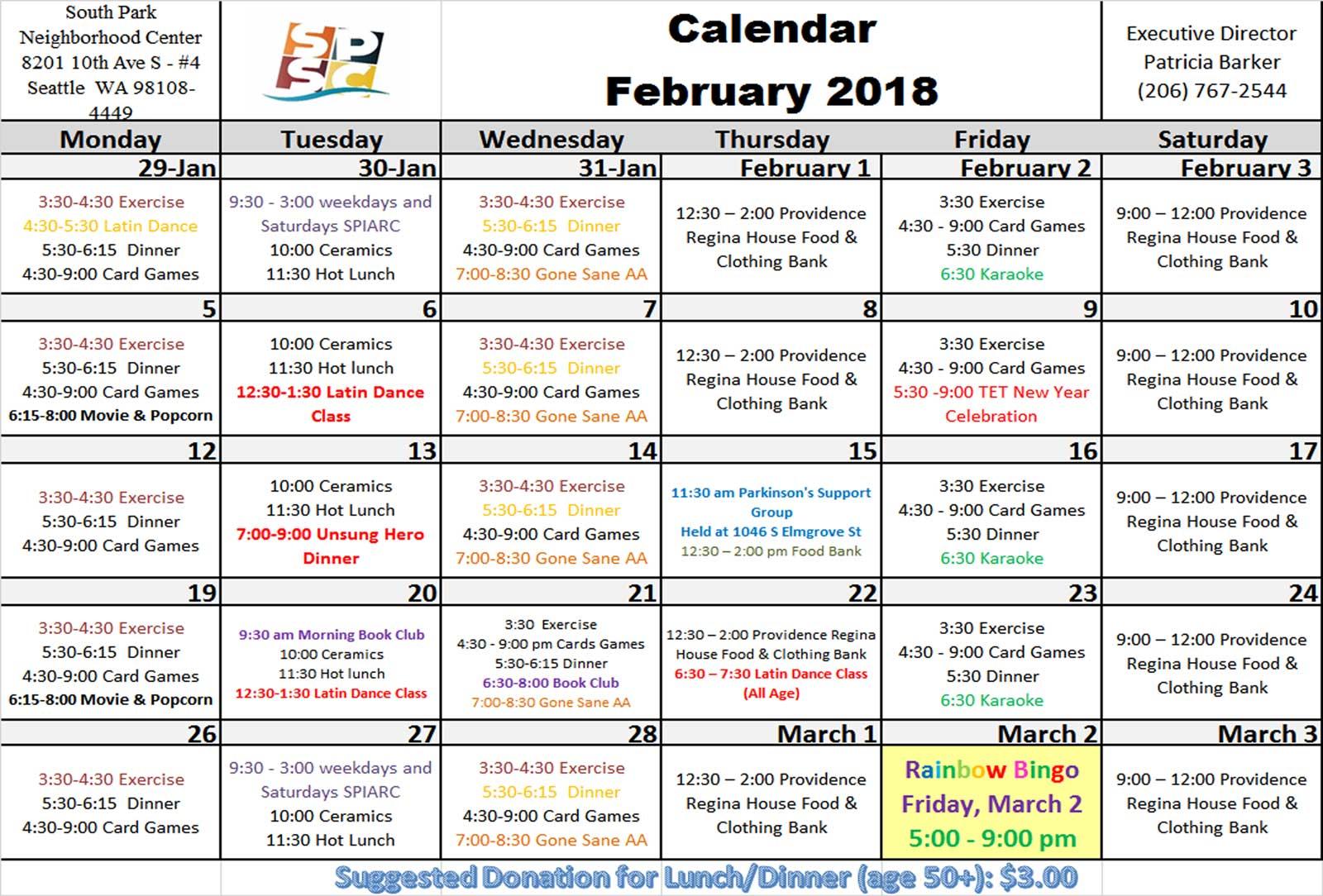 February South Park Senior Center calendar