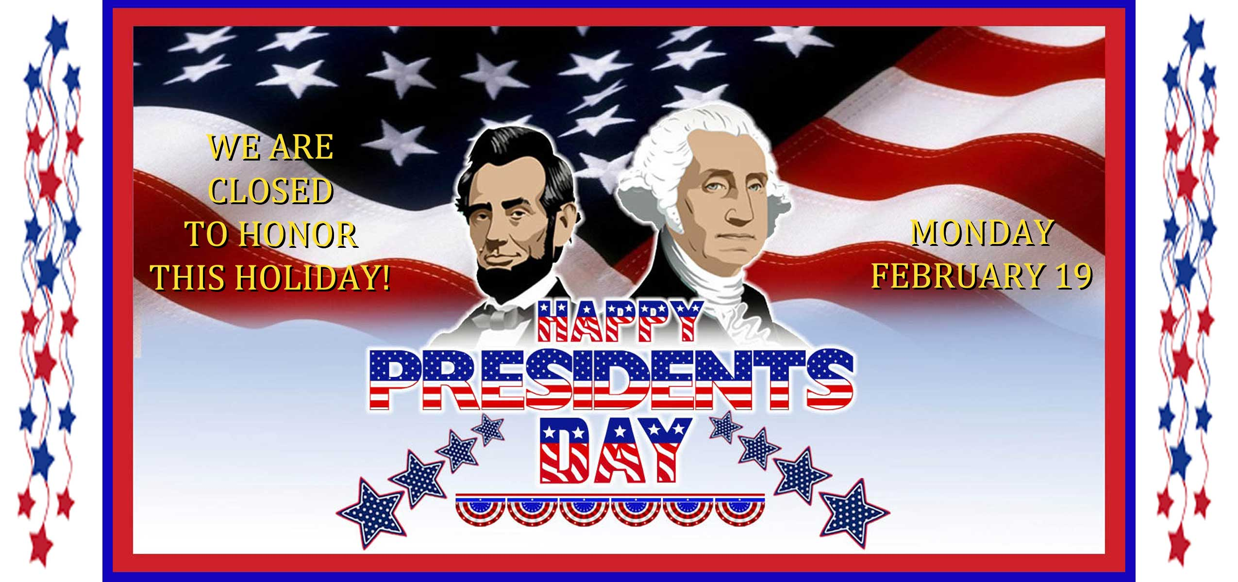 South Park Senior Center will be closed on Monday Februray 19, 2018 to honor the National Holiday.