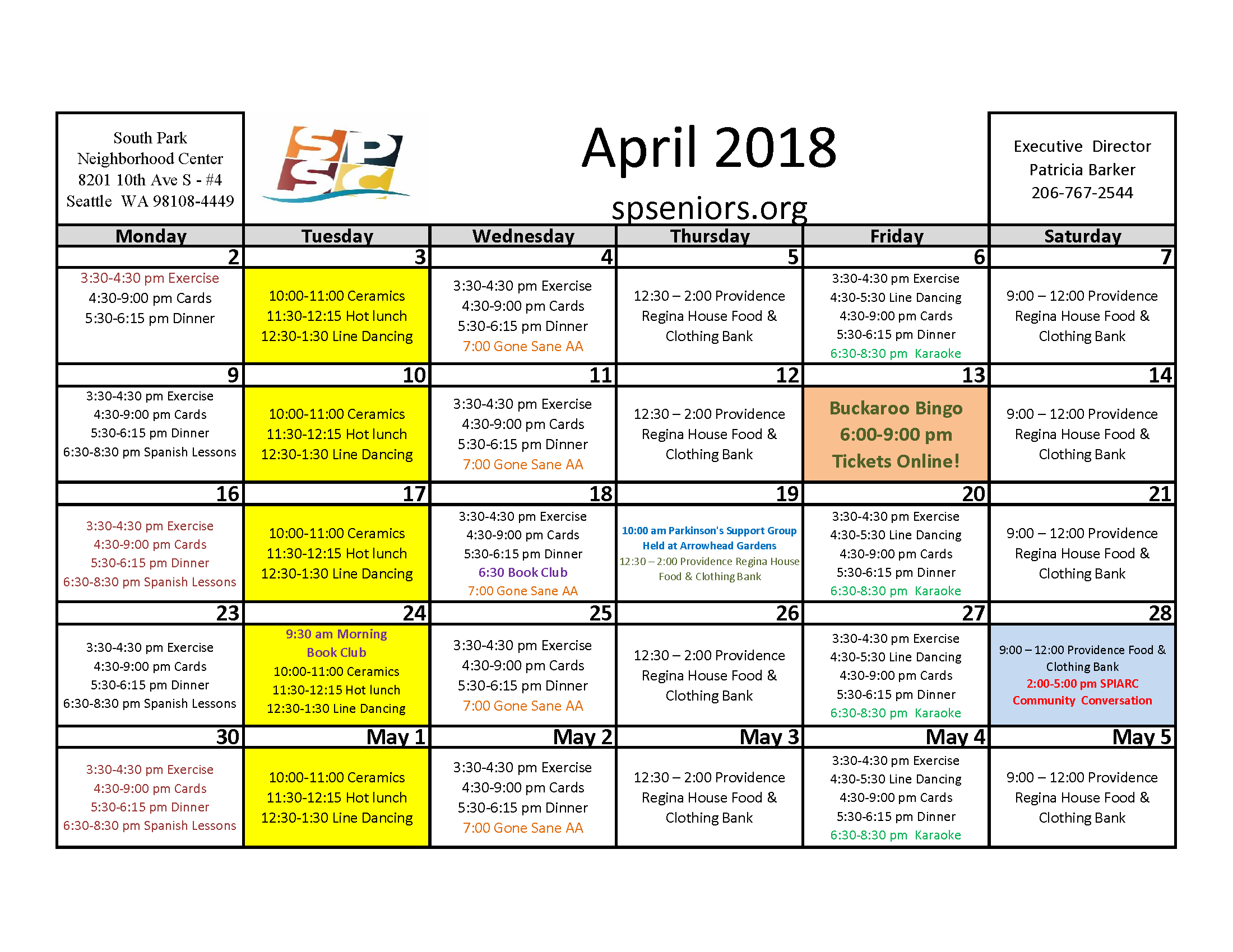 April activity Calendar for South Park Senior Citizens