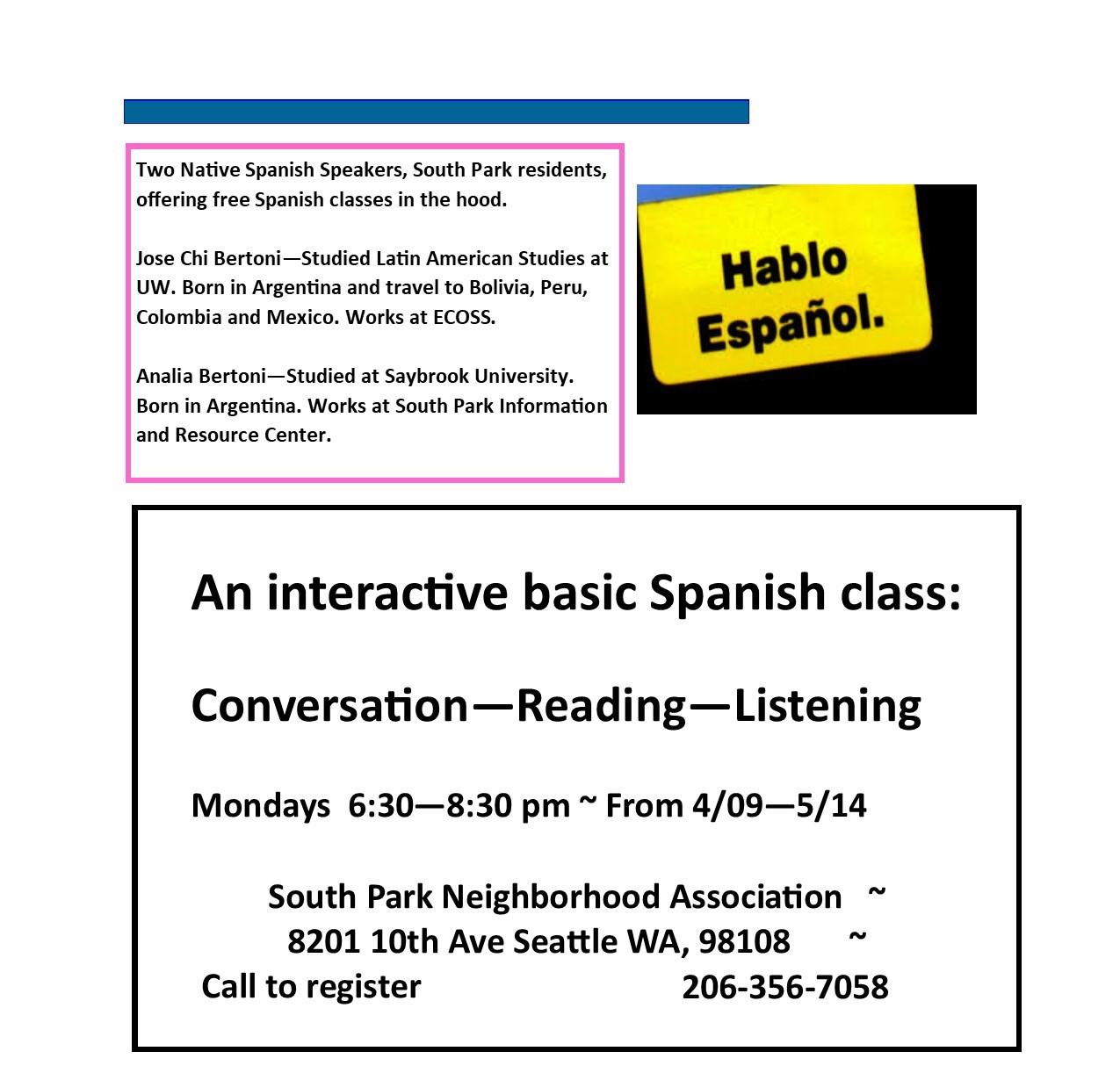 FREE Spanish Lessons! 6:30 - 8:30 pm Mondays