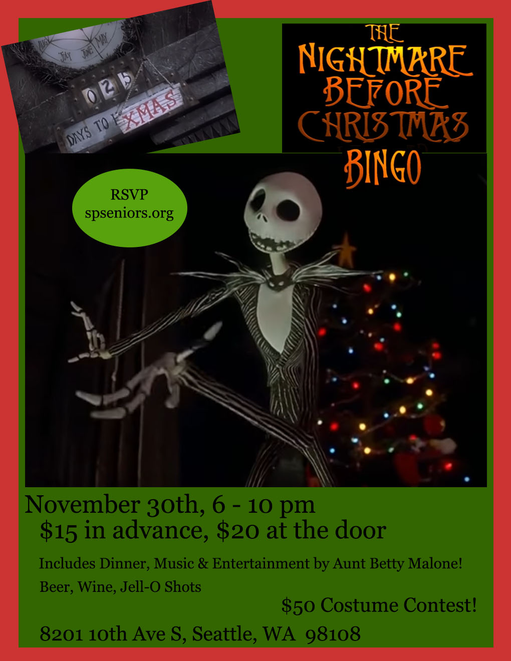 Nightmare Before Christmas BINGO, Friday, November 30th, 6-10 pm