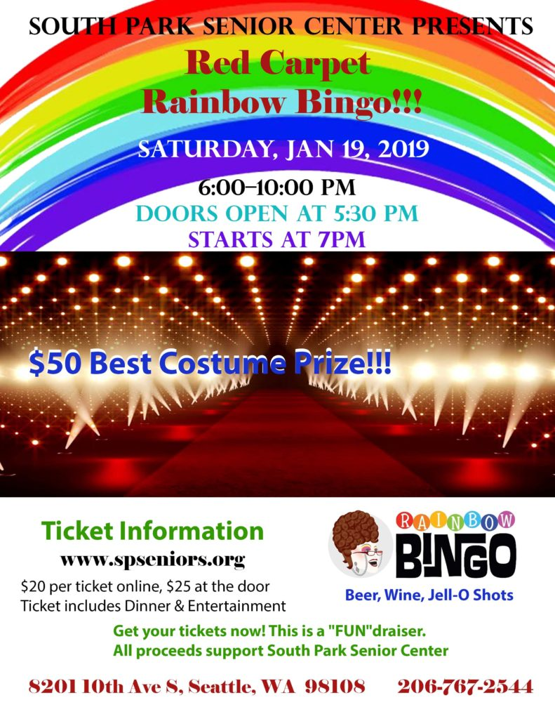 Join us for Rainbow Bingo, Saturday, Jan 19th from 6-10 pm!