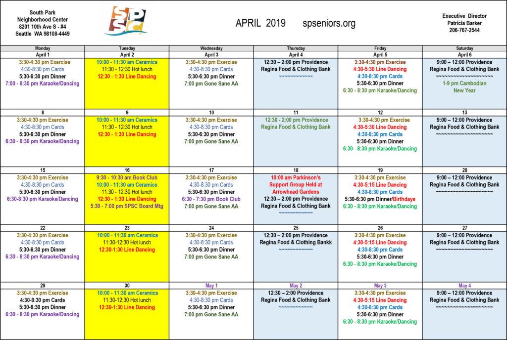 South Park Senior Center Calendar April 2019