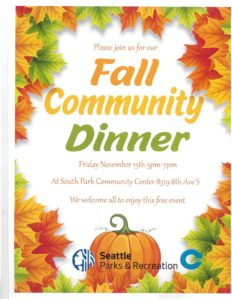 Fall Community Dinner, Friday November 15th from 5-7 pm